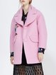 Pink Lapel Appliqued Casual Wool-blend Coat