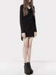 Casual Asymmetric Long Sleeve Plain Mini Dress