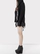 Black Long Sleeve Paneled Hoodie Wool Coat