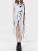 White Cotton Buttoned Asymmetric Plain Vests And Gilet