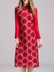 Rose Guipure Lace Long Sleeve Stand Collar Floral Midi Dress