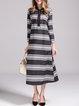 Gray Cotton Color-block A-line 3/4 Sleeve Midi Dress