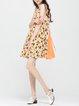 Yellow Paneled Printed A-line Sleeveless Mini Dress