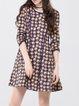 Purple A-line Polyester 3/4 Sleeve Crew Neck Printed Mini Dress