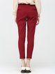 Burgundy Plain Cotton-blend Simple Pockets Skinny Leg Pants
