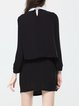 Black Peter Pan Collar Viscose Folds Simple Mini Dress