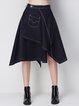 Blue Casual Denim A-line Asymmetric Midi Skirt
