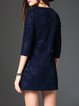 Navy Blue Jacquard Casual Coat