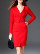 Red Work Bodycon Pockets Lapel Slit Midi Dress With Belt
