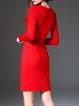 Red Work Bodycon Pockets Lapel Slit Midi Dress With Belt