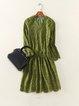 Green V Neck A-line Lace 3/4 Sleeve Mini Dress