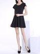 Black Skater Short Sleeve Scoop Neckline Mini Dress