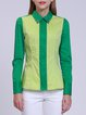 Green Shirt Collar Long Sleeve Color-block Blouse
