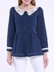 Navy Blue Peter Pan Collar Sweet Cotton Blouse