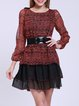 Chiffon Casual Ruffled Long Sleeve Mini Dress With Belt