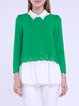 Green Chiffon Plain Ruffled Two Piece Long Sleeved Top