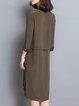 Vintage Printed High Low 3/4 Sleeve Midi Dress