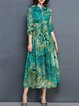 Green A-line Floral Polyester Long Sleeve Midi Dress With Belt
