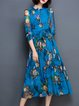 Blue Vintage Floral Printed Midi Dress With Belt