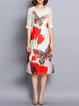 Elegant Floral Asymmetrical Short Sleeve Midi Dress With Camis