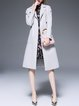 Pockets Simple Long Sleeve Tweed Coat With Belts