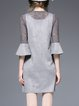 Gray Two Piece Plain Frill Sleeve Statement Crocheted Mini Dress