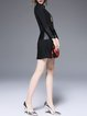 Black PU Paneled Long Sleeve Fringed Stand Collar Mini Dress