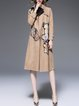Apricot Suede Floral Casual Paneled Long Sleeve Coat With Belt
