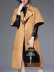 Khaki Suede Lapel Elegant Plain Coat With Belt
