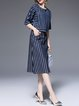 Two Piece Jacquard Half Sleeve Casual Denim Midi Dress