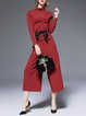 Wine Red Elegant Knitted Plain Two Piece Jumpsuits With Belt