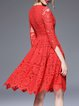 Red Lace Crew Neck Elegant Half Sleeve Floral Midi Dress