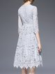 Gray Pierced Lace Crew Neck Half Sleeve Midi Dress