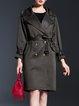 Dark Green Lapel A-line Elegant Coat