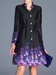 Purple Long Sleeve Floral Polyester Coat