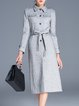 Gray Plain Elegant Shirt Collar Polyester Coat