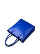 Blue Zipper Simple Cowhide Leather Tote