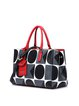 Black Geometrical Pattern Printed Cowhide Leather Zipper Statement Tote