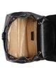 Black Cowhide Leather Push Lock Casual Backpack