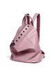 Pink Zipper Cowhide Leather Statement Rivet Backpack