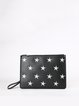 Black Embroideried Cowhide Leather Zipper Clutch