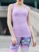 Purple Polyester Stretchy Breathable Quick Dry Tank