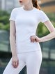 White Stretchy Polyester Quick Dry Top T-shirt