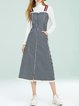 Dark Blue A-line Stripes Printed Cotton Spaghetti Casual Overall Midi Dress