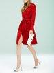 Red Shirt Collar Long Sleeve Shirt Dress