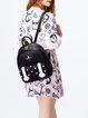 Black Zipper Sweet Embroideried PU Backpack