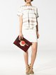 Burgundy Large Cowhide Leather Envelope Clutch