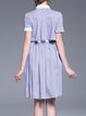 Light Blue High Low Shirred Shirt Collar Casual Midi Dress