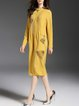 Yellow Hand-drawn Shift Long Sleeve Tencel Shirt Dress