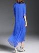 Stand Collar Half Sleeve Plain Silk Vintage Midi Dress